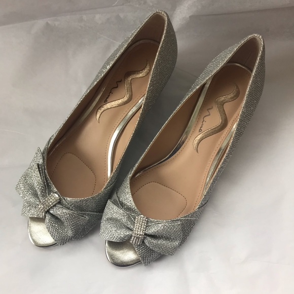 nina shoes sparkly silver open toe wedge heels with bow